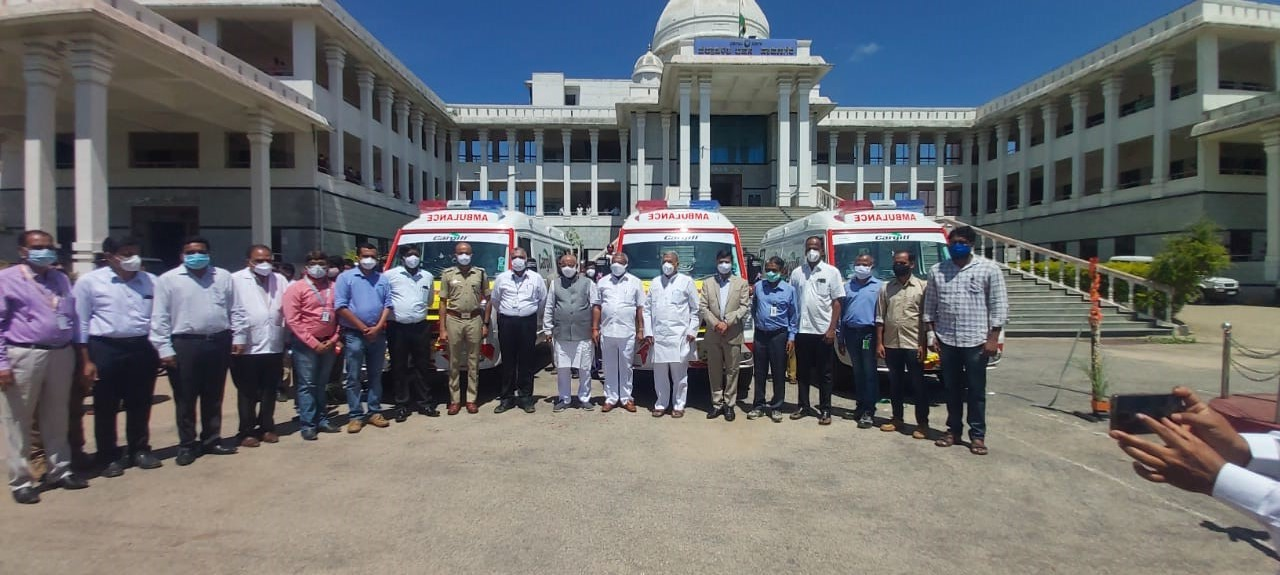 Cargill Donates 3 Advance Life Support (ALS) Ambulances to district health authorities in Davanagere, Karnataka