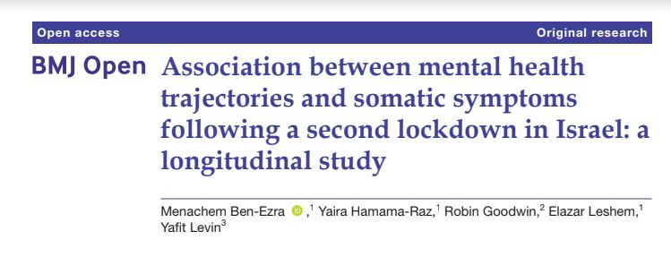 A new population-based study by Israeli & UK Scientists examines how over 1,000 Israeli's mental health was impacted by a second COVID-19 lockdown